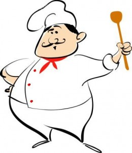 chef with wooden spoon