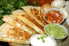 bacon, cheese and mushroom quesadillas with sides
