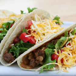 Tacos filled with savoury mince